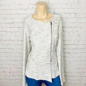 I.N.C. Cream Boucle Tweed Peplum Moto Jacket L